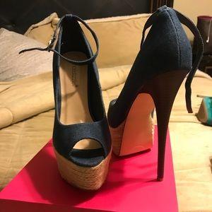 ShoeDazzle Denim heels